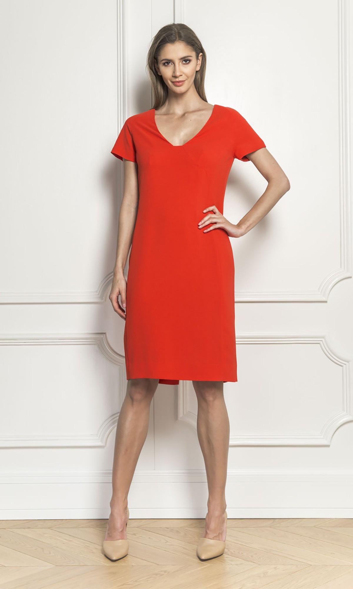 Sukienka z zamkiem, w kolorze czerwonym