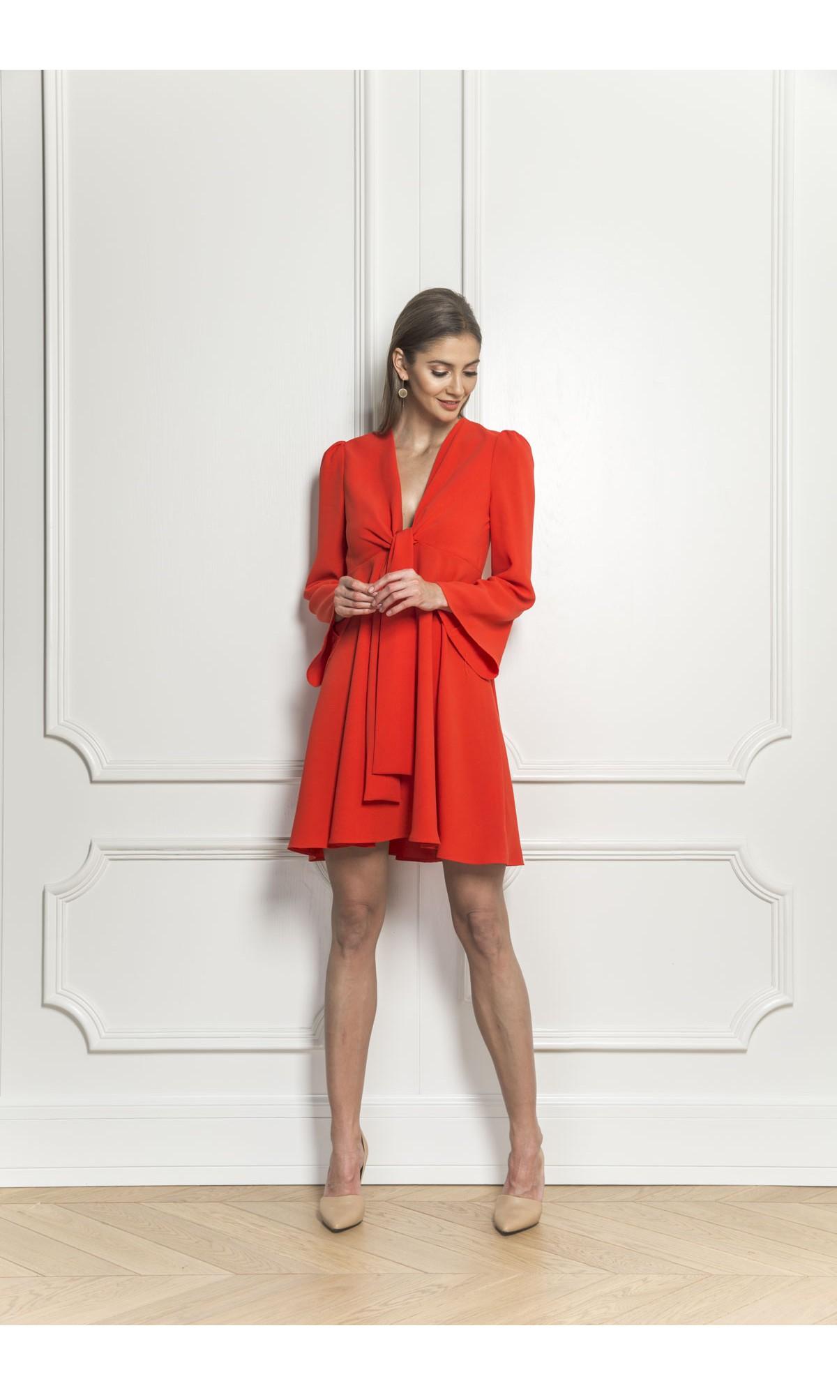 Sukienka z wiązaniem, w kolorze czerwonym