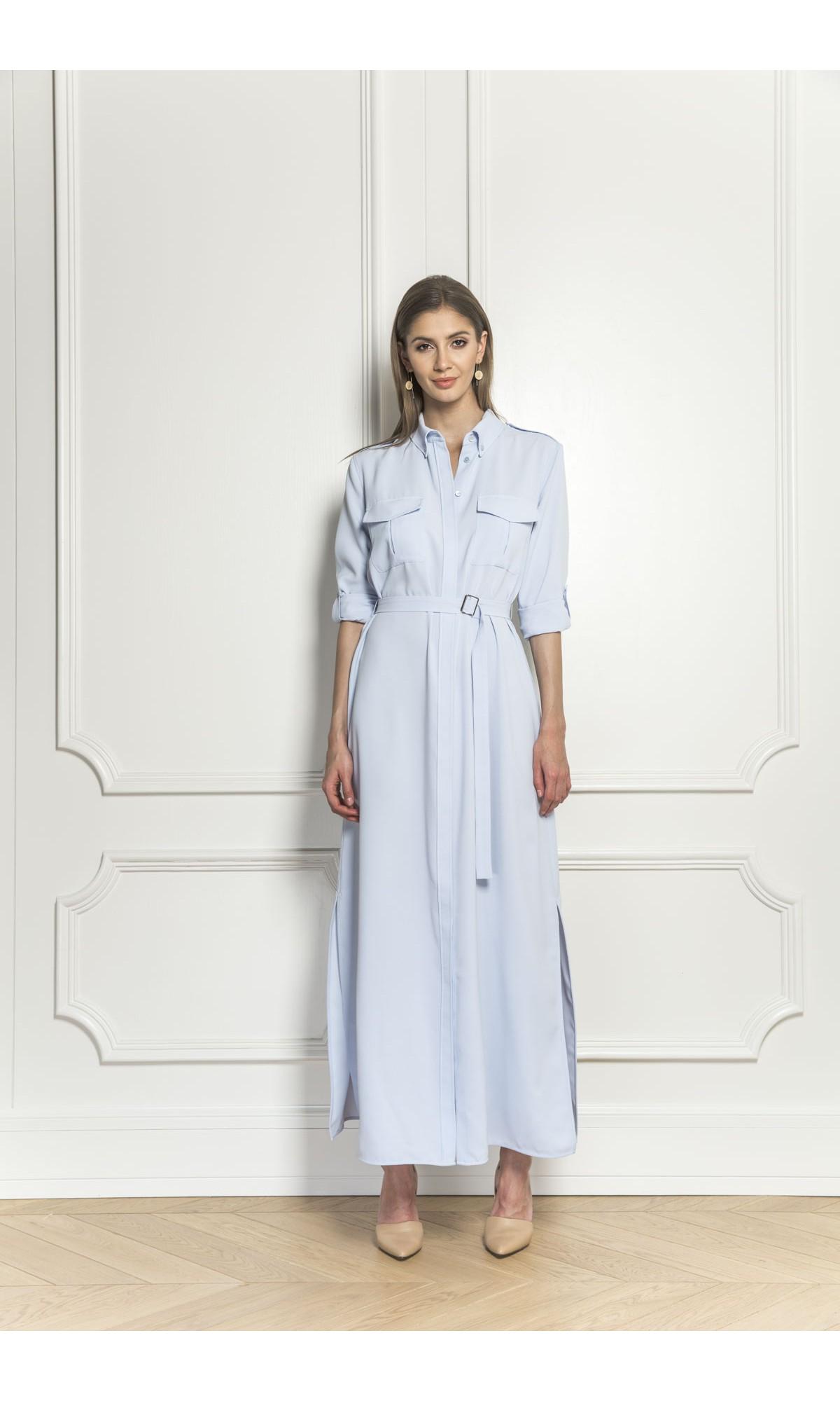 Sukienka maxi z rozcięciami, w kolorze niebieskim