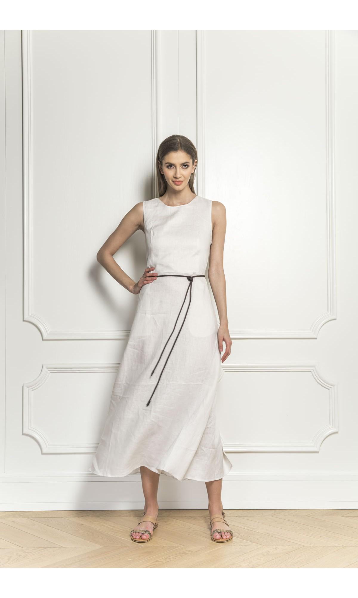 Sukienka lniana w kolorze beżowym