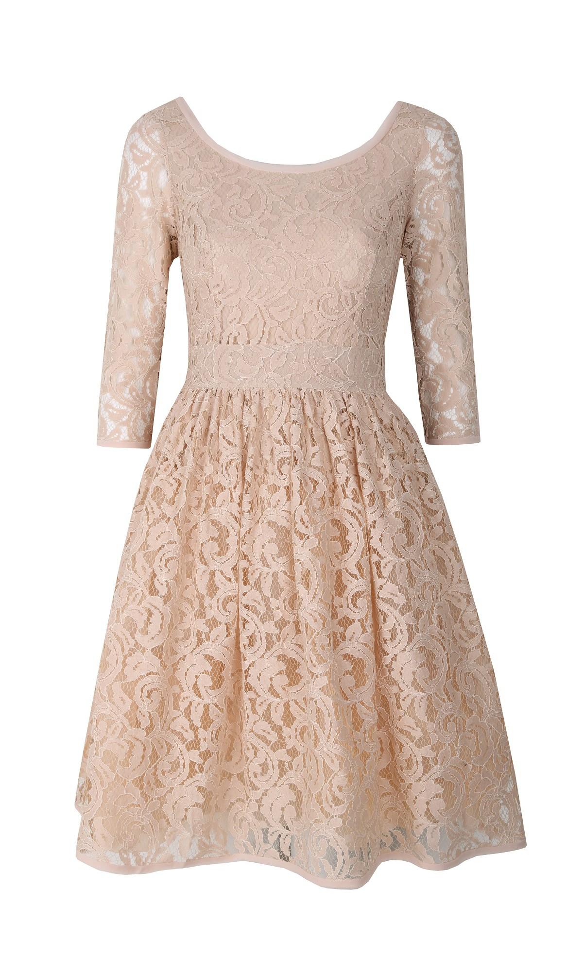 Sukienka koronkowa w kolorze beżowym