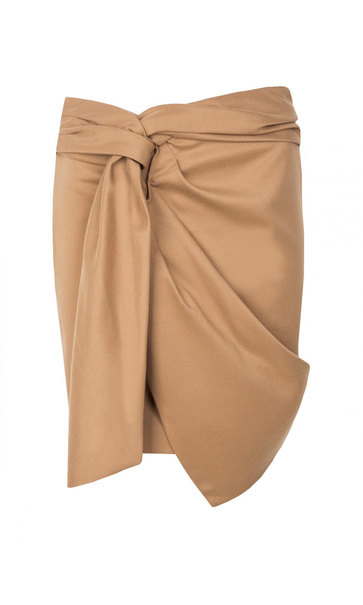 Spódnica z wiązaniem, w kolorze kamelowym