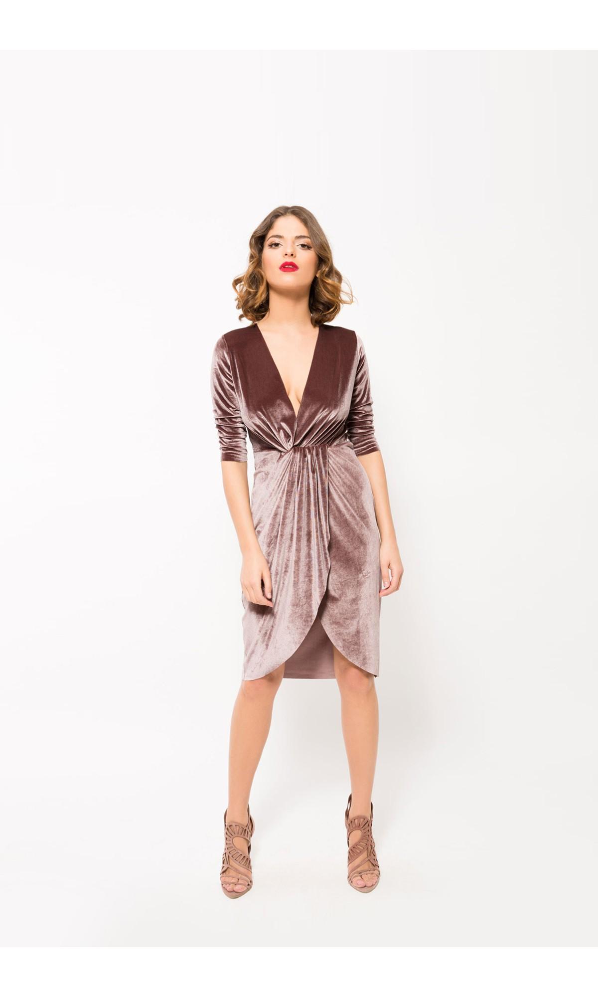 Sukienka welurowa w kolorze zgaszonego fioletu