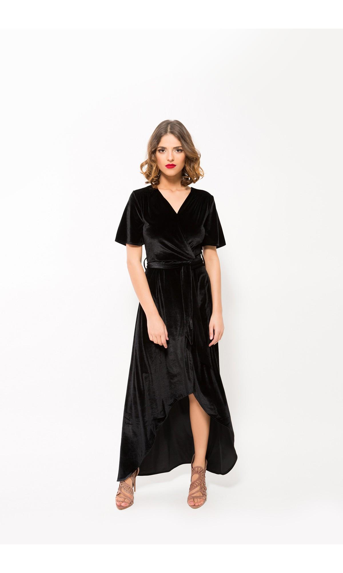 Sukienka welurowa w kolorze czarnym