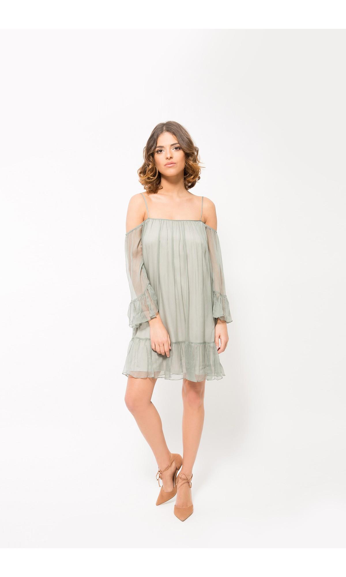 Sukienka z jedwabiu w kolorze khaki