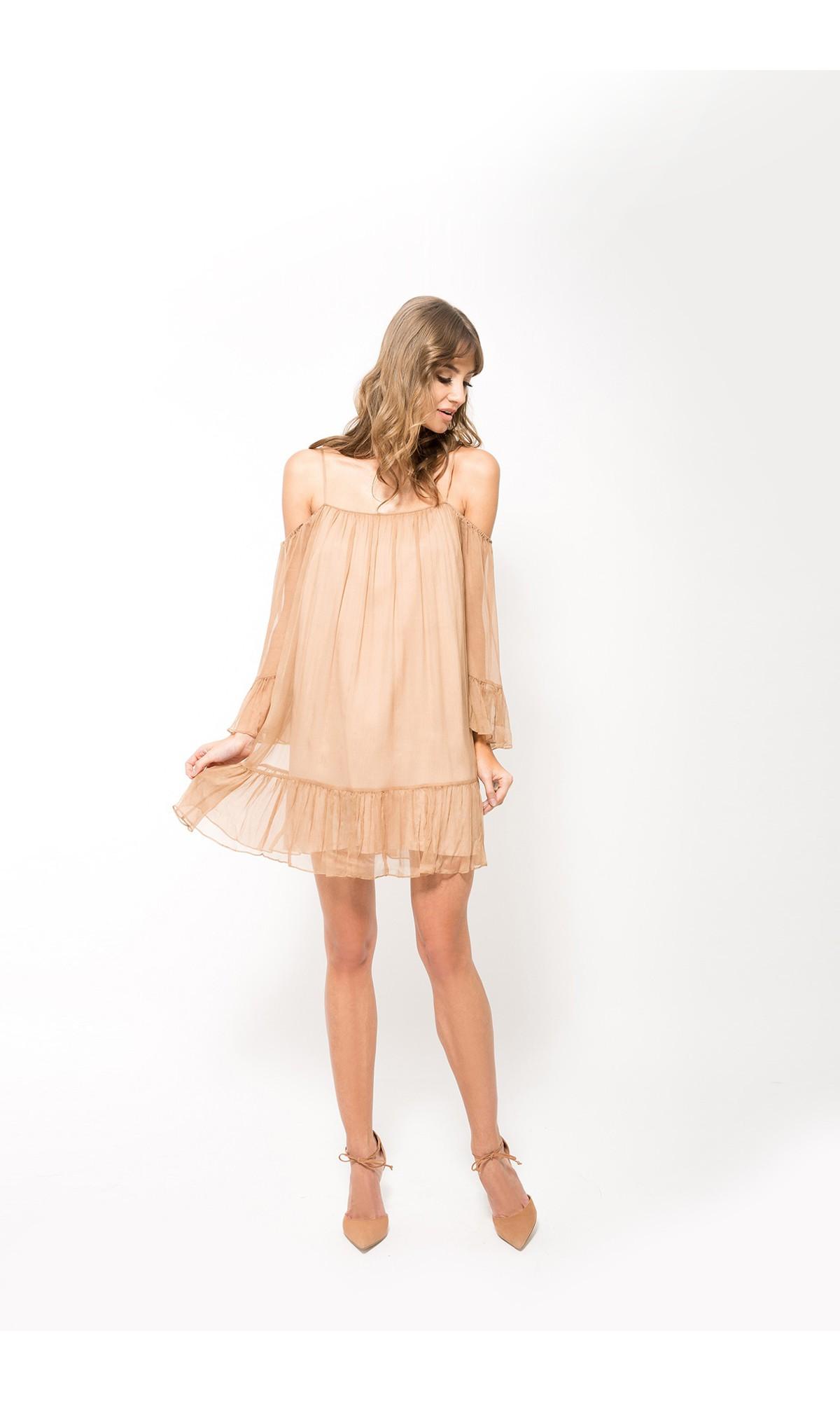 Sukienka z jedwabiu w kolorze beżowym
