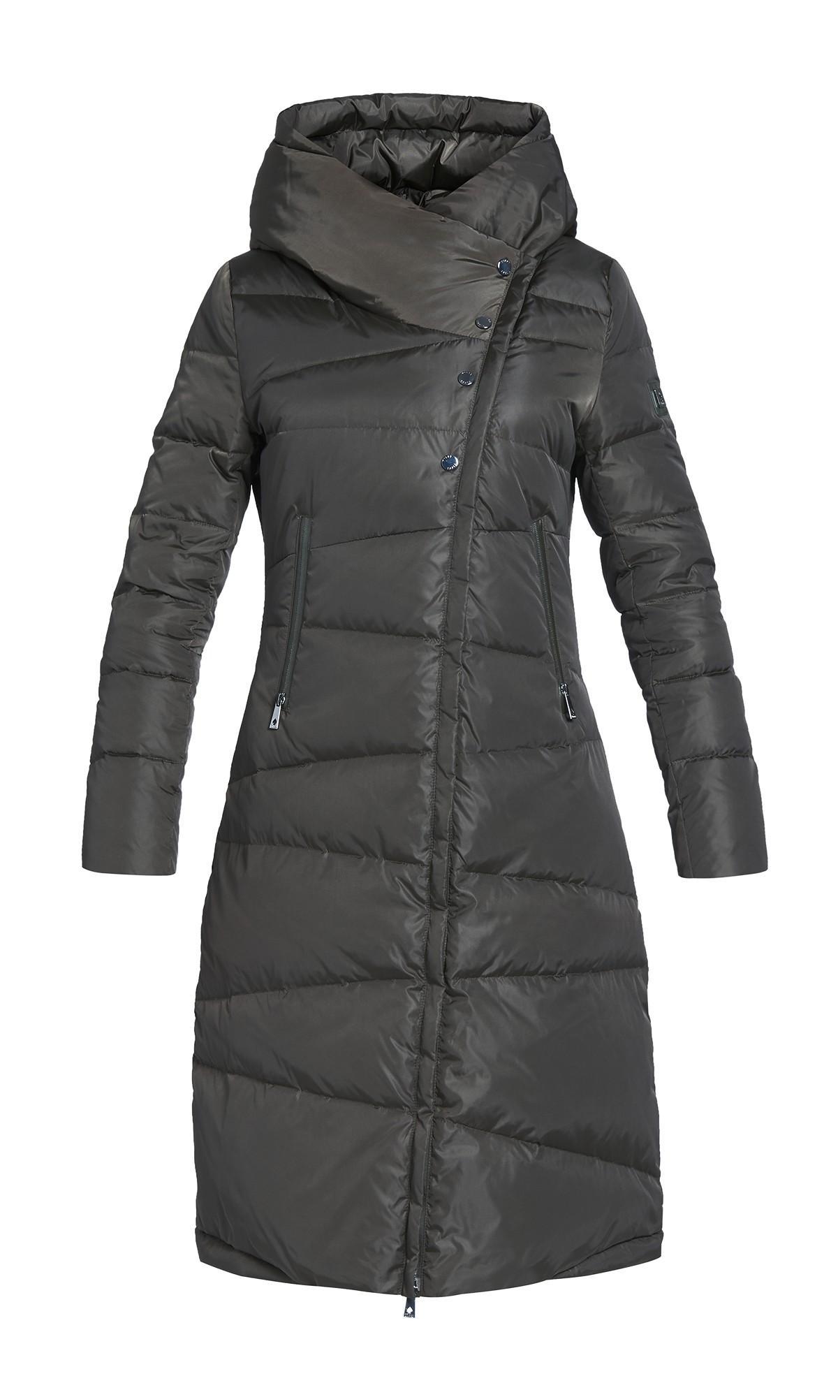 Kurtka zimowa Tiffi w kolorze khaki z kapturem, puchowa długa