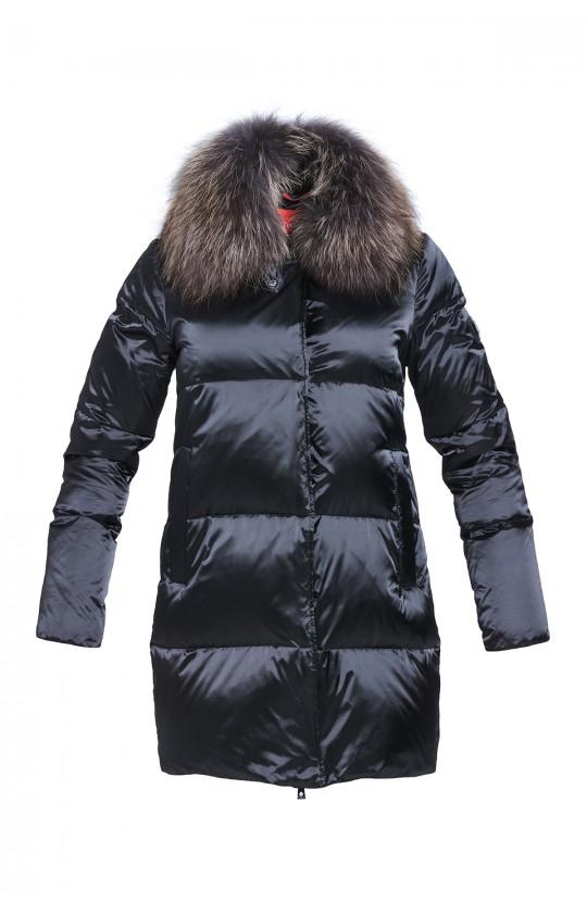 Kurtka puchowa Tiffi w kolorze czarnym z futrem