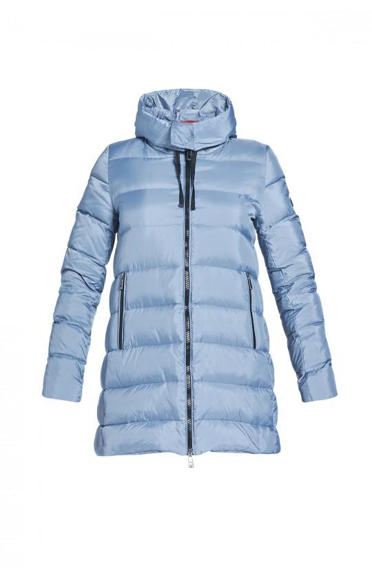 Kurtka zimowa Tiffi w kolorze błękitnym z kapturem, puchowa