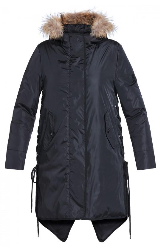 Kurtka zimowa Tiffi, z kapturem, puchowa w kolorze czarnym
