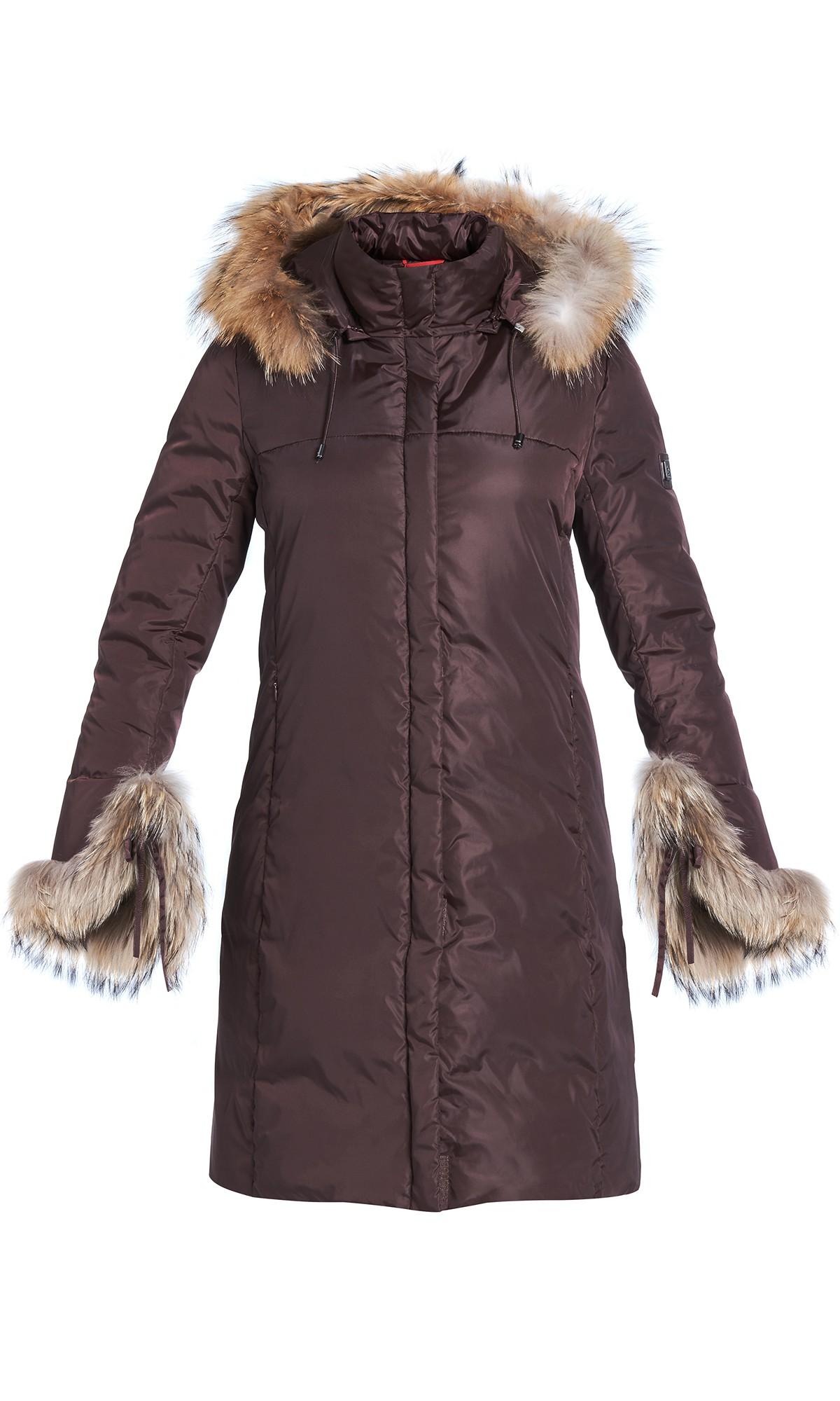 Kurtka zimowa Tiffi z kapturem w kolorze brązowym, puchowa, futro