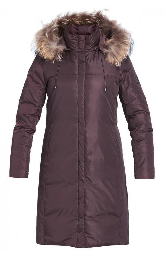 Kurtka zimowa Tiffi z kapturem, w kolorze brązowym, puchowa, futro