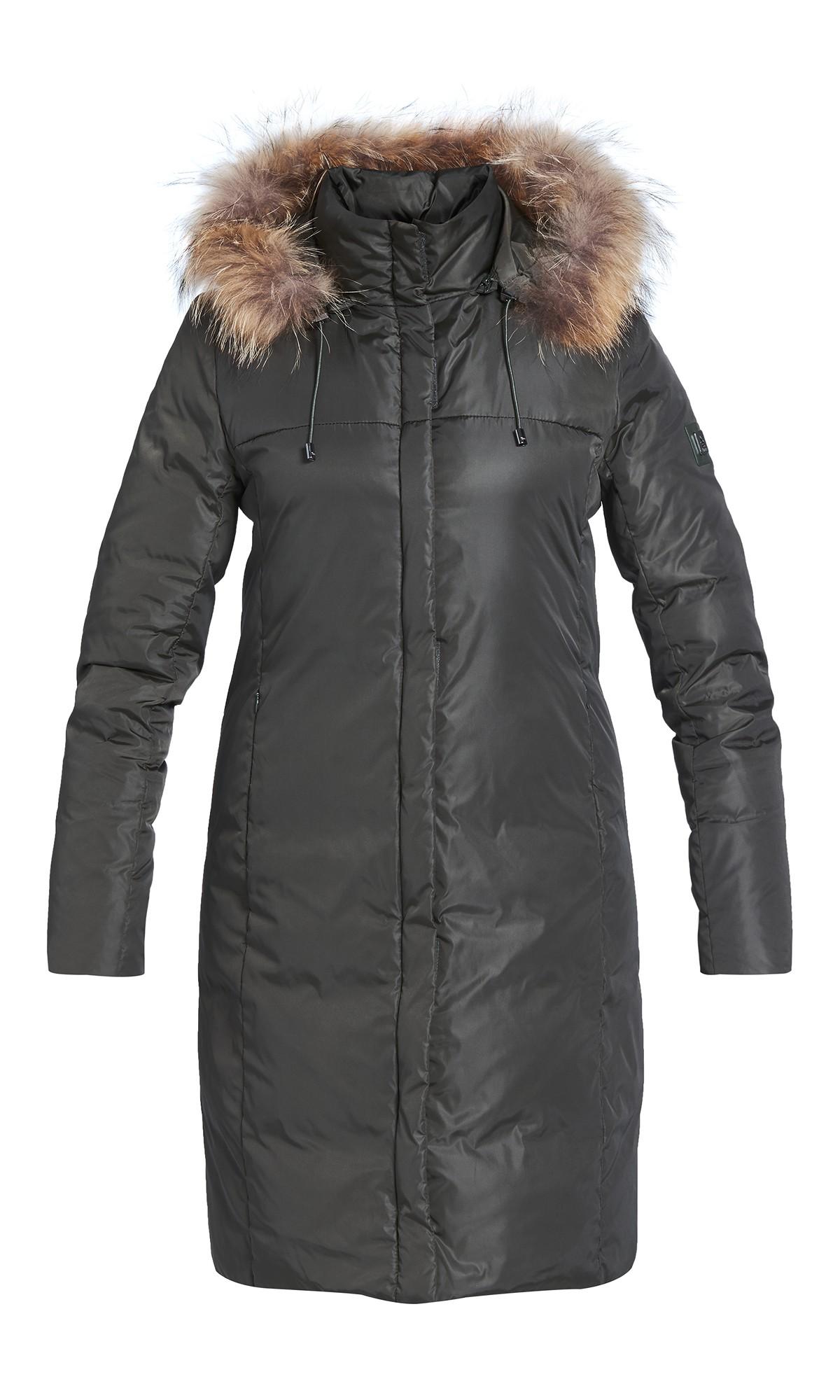 Kurtka zimowa Tiffi z kapturem, w kolorze khaki, puchowa, futro