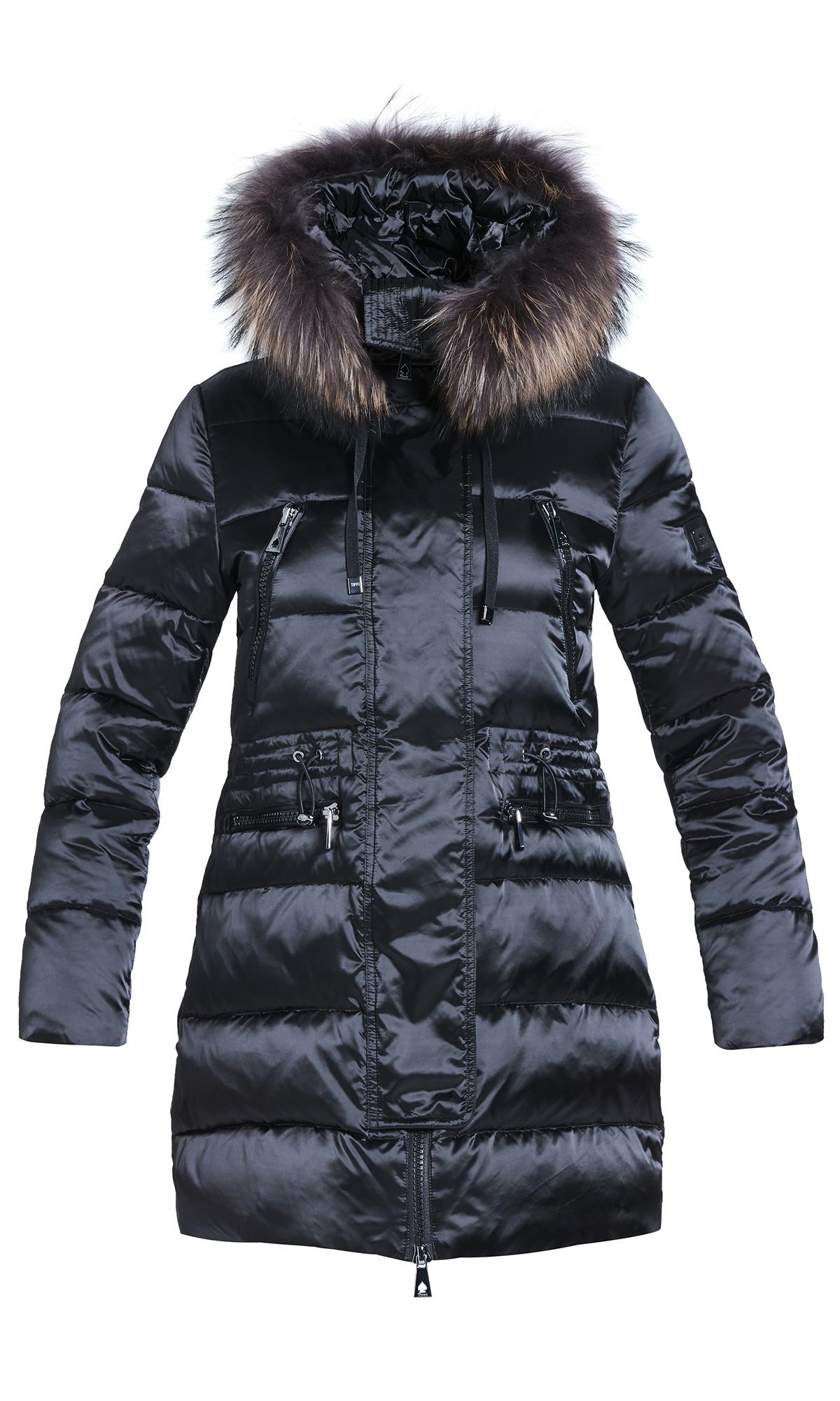 Kurtka zimowa Tiffi, puchowa z kapturem w kolorze czarnym