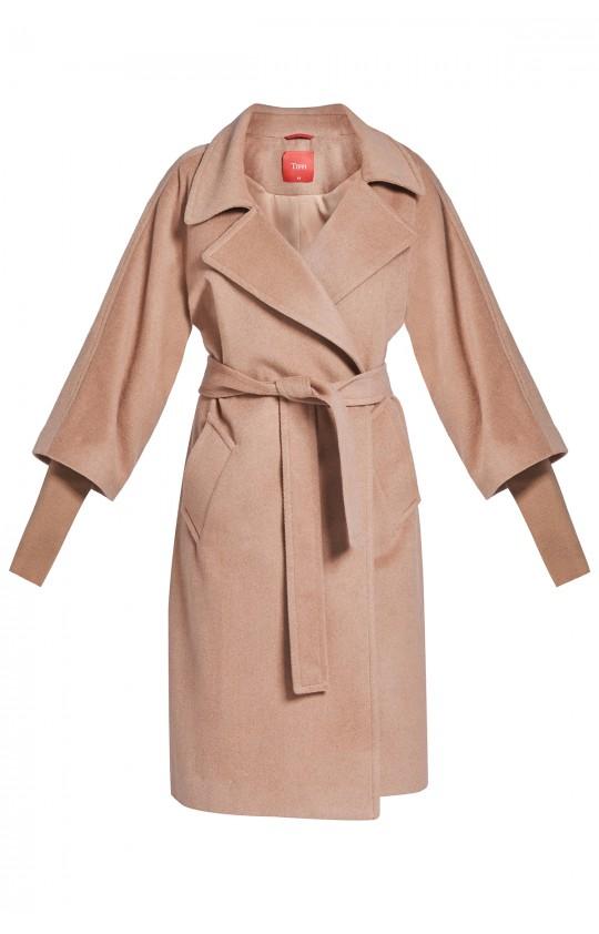 płaszcz Tiffi z kaszmirem i wełną, wiązany w pasie w kolorze kamelowym