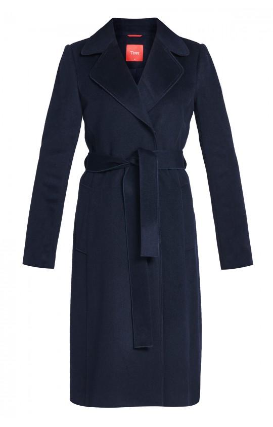 płaszcz Tiffi z kaszmirem i wełną, wiązany w pasie w kolorze granatowym