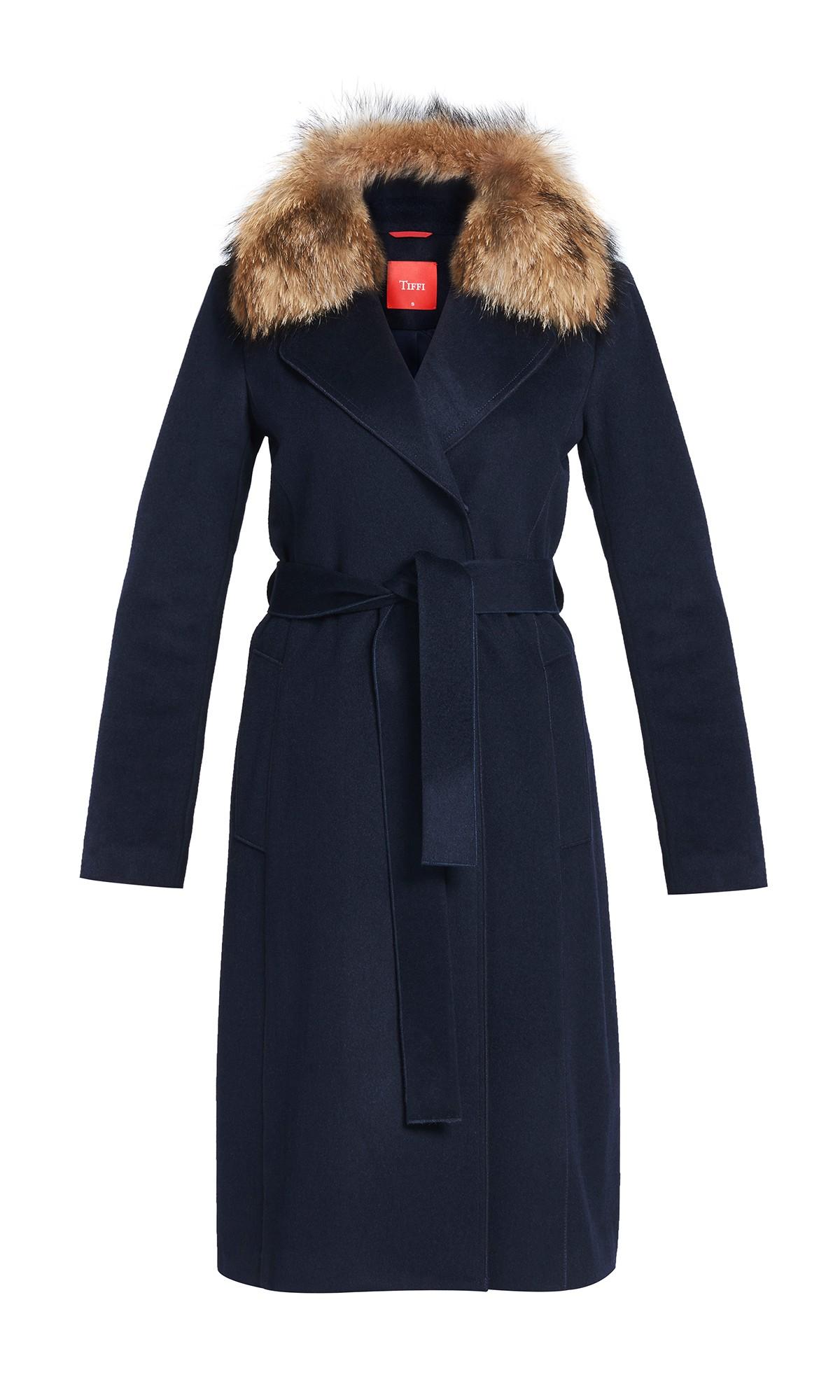 płaszcz Tiffi z kaszmirem i wełną, wiązany w pasie w kolorze czarnym, kołnierz futro