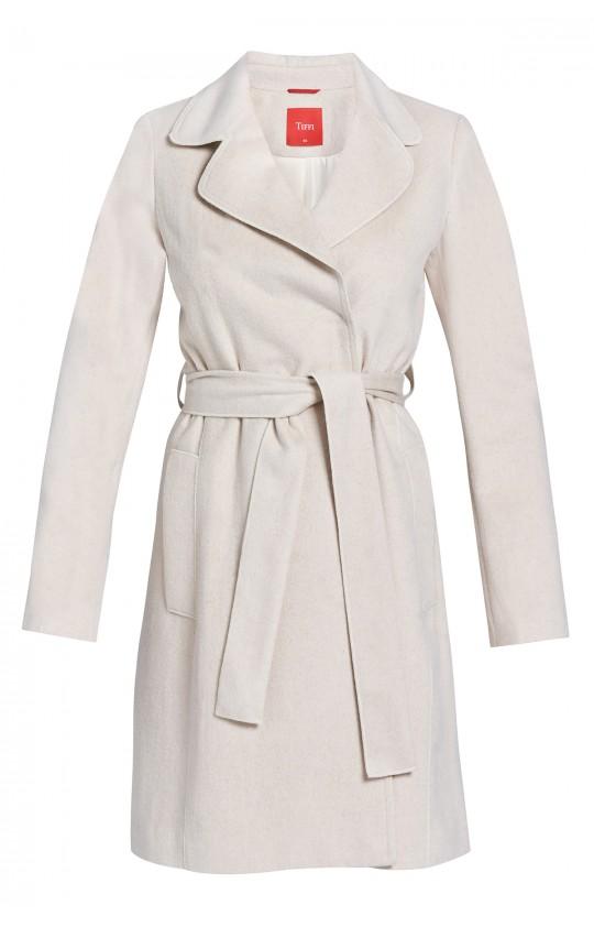 płaszcz Tiffi z kaszmirem i wełną, wiązany w pasie w kolorze beżowym