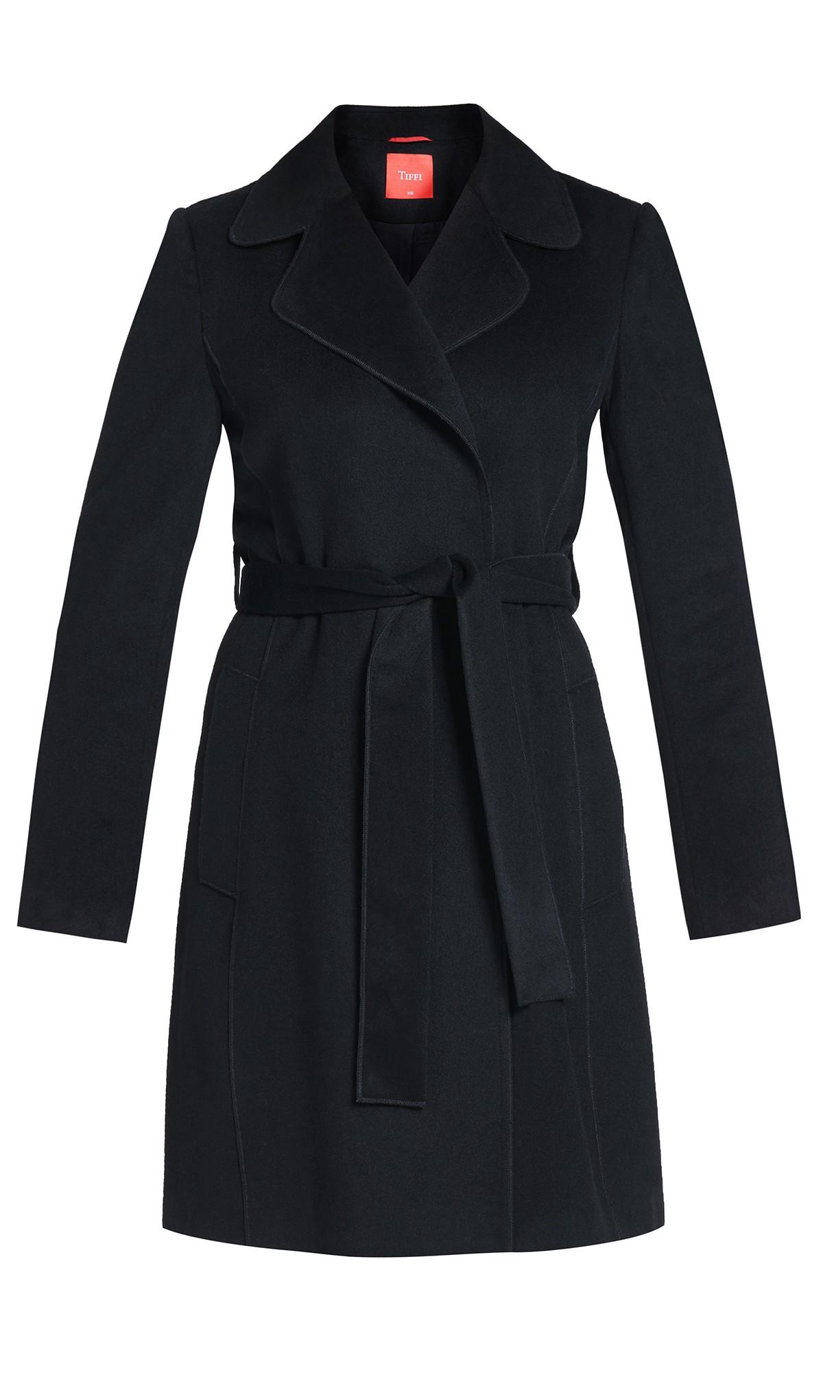 płaszcz Tiffi z kaszmirem i wełną, wiązany w pasie w kolorze czarnym