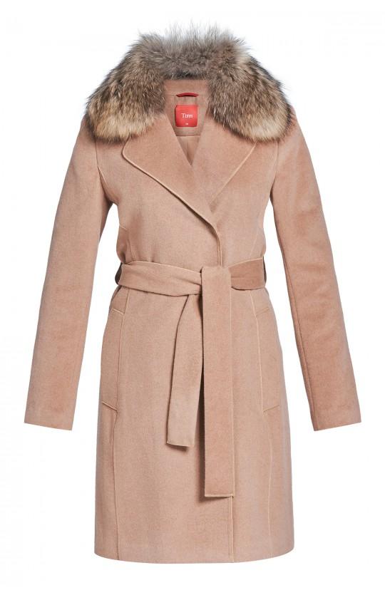 płaszcz Tiffi z kaszmirem i wełną, wiązany w pasie w kolorze kamelowym, kołnierz futro
