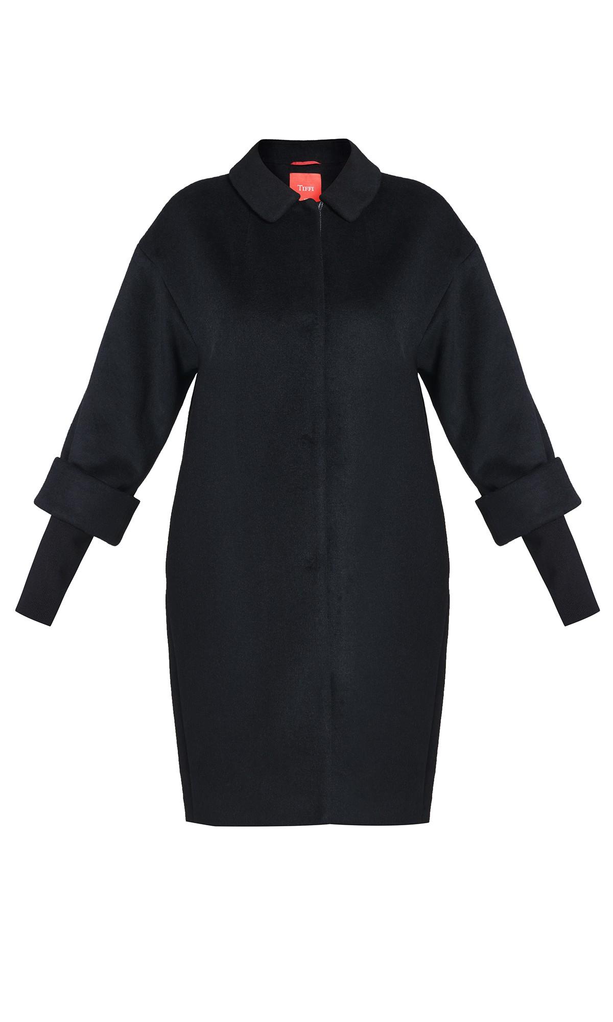 płaszcz Tiffi z kaszmirem i wełną, w kolorze czarnym, dzianinowe rękawy