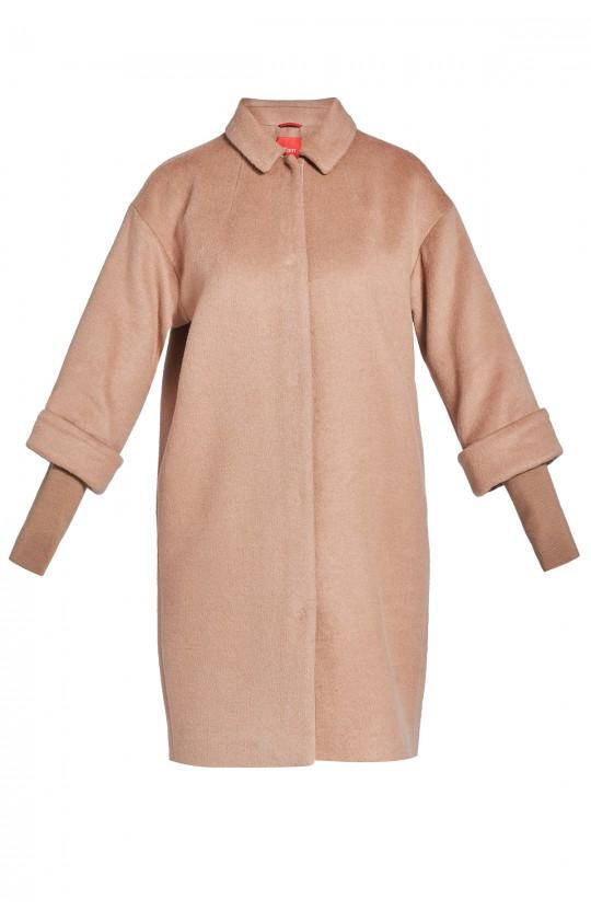płaszcz Tiffi z kaszmirem i wełną, w kolorze kamelowym, dzianinowe rękawy