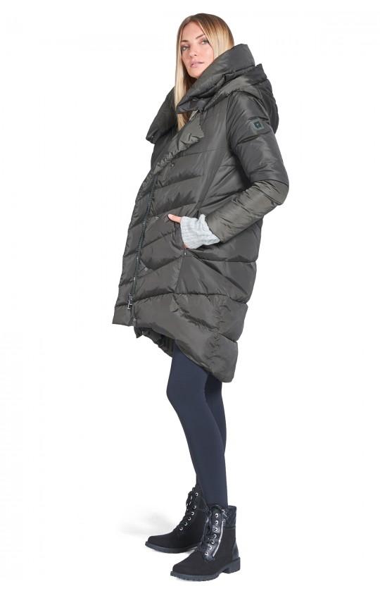 Kurta zimowa Tiffi w kolorze khaki, długa z kapturem