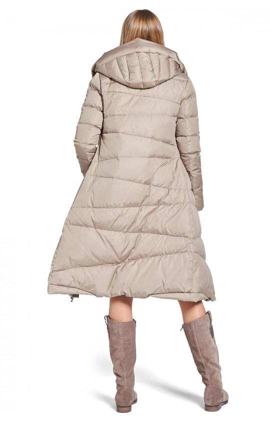 Kurtka zimowa Tiffi w kolorze beżowym z kapturem, puchowa długa