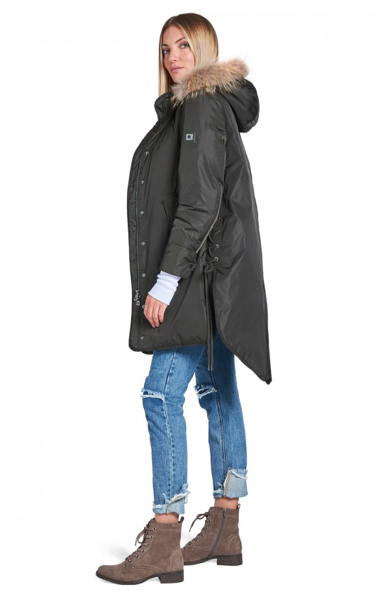 Kurtka zimowa Tiffi, z kapturem, puchowa w kolorze khaki