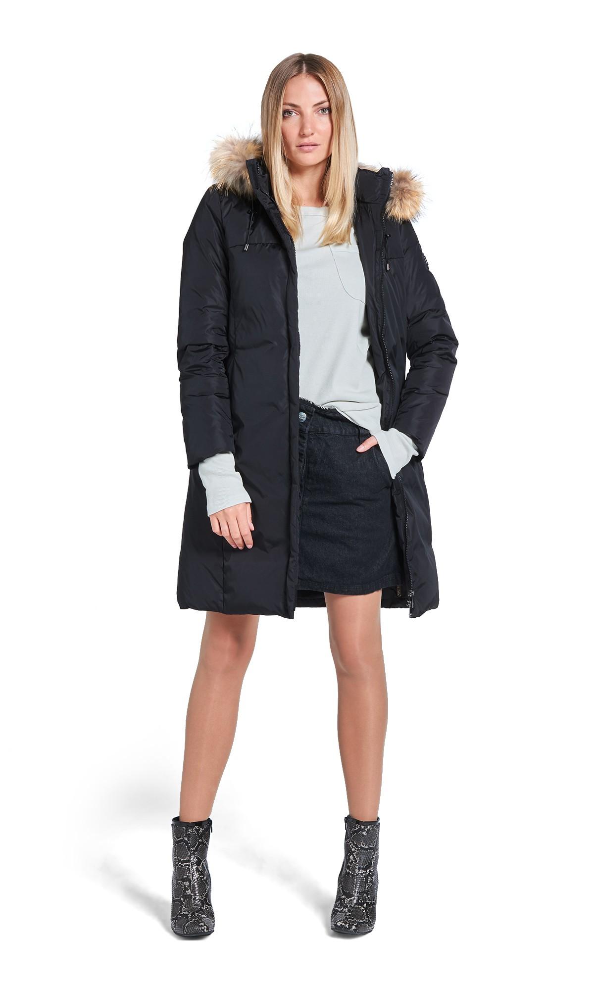 Kurtka zimowa Tiffi z kapturem, w kolorze czarnym, puchowa, futro