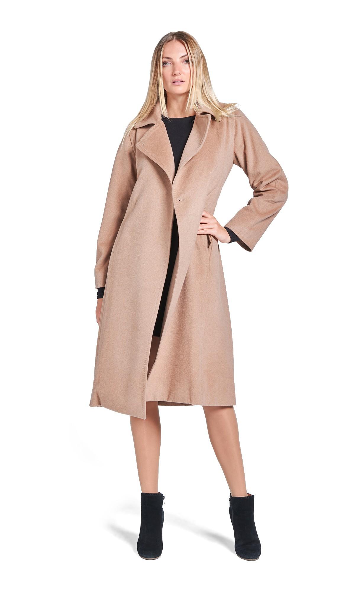 Płaszcz Tiffi długi z kaszmirem i wełną, w kolorze kamelowym, wiązany