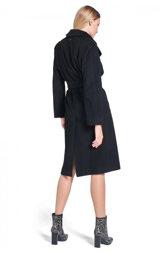 Płaszcz Tiffi długi z kaszmirem i wełną, w kolorze czarnym wiązany