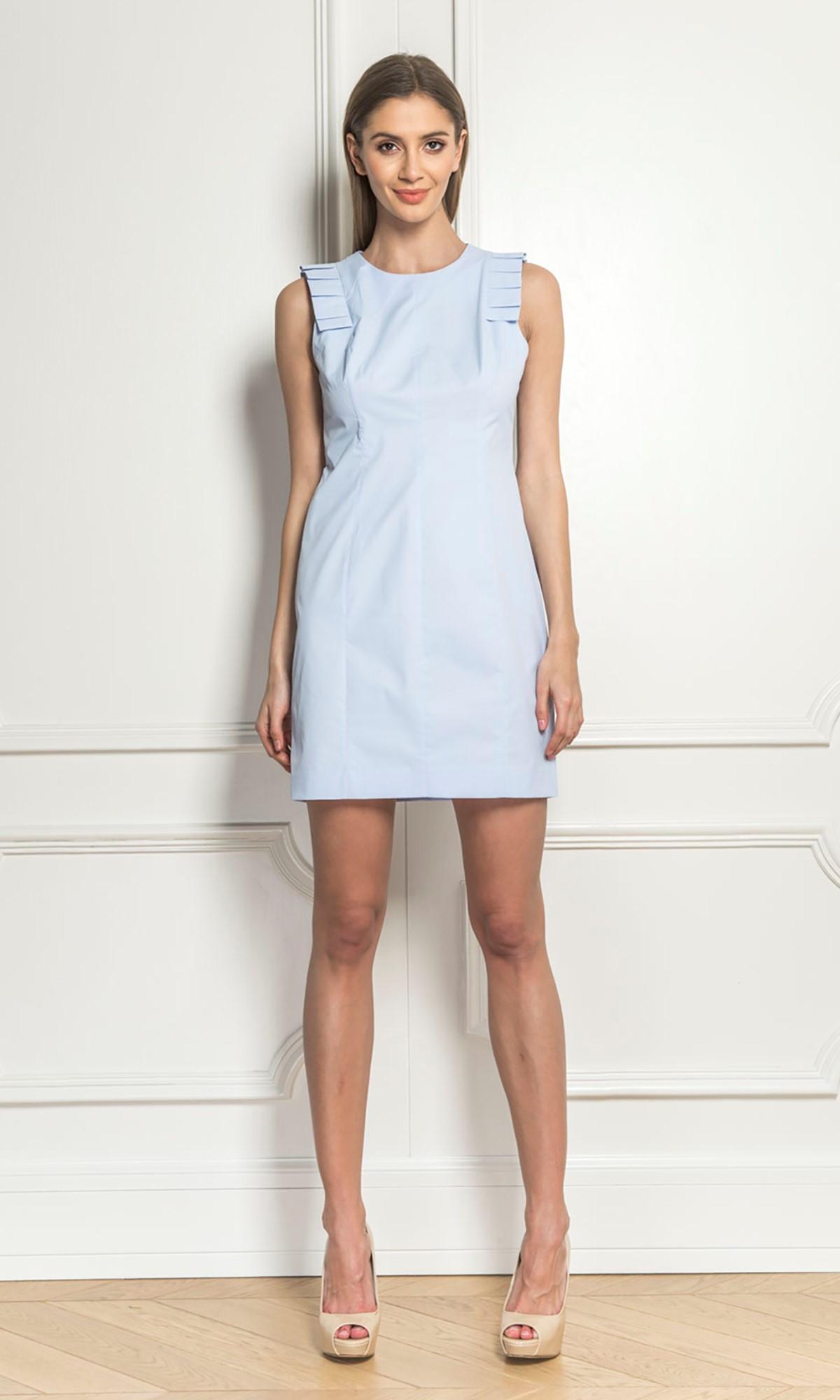 Sukienka z plisami, w kolorze niebieskim