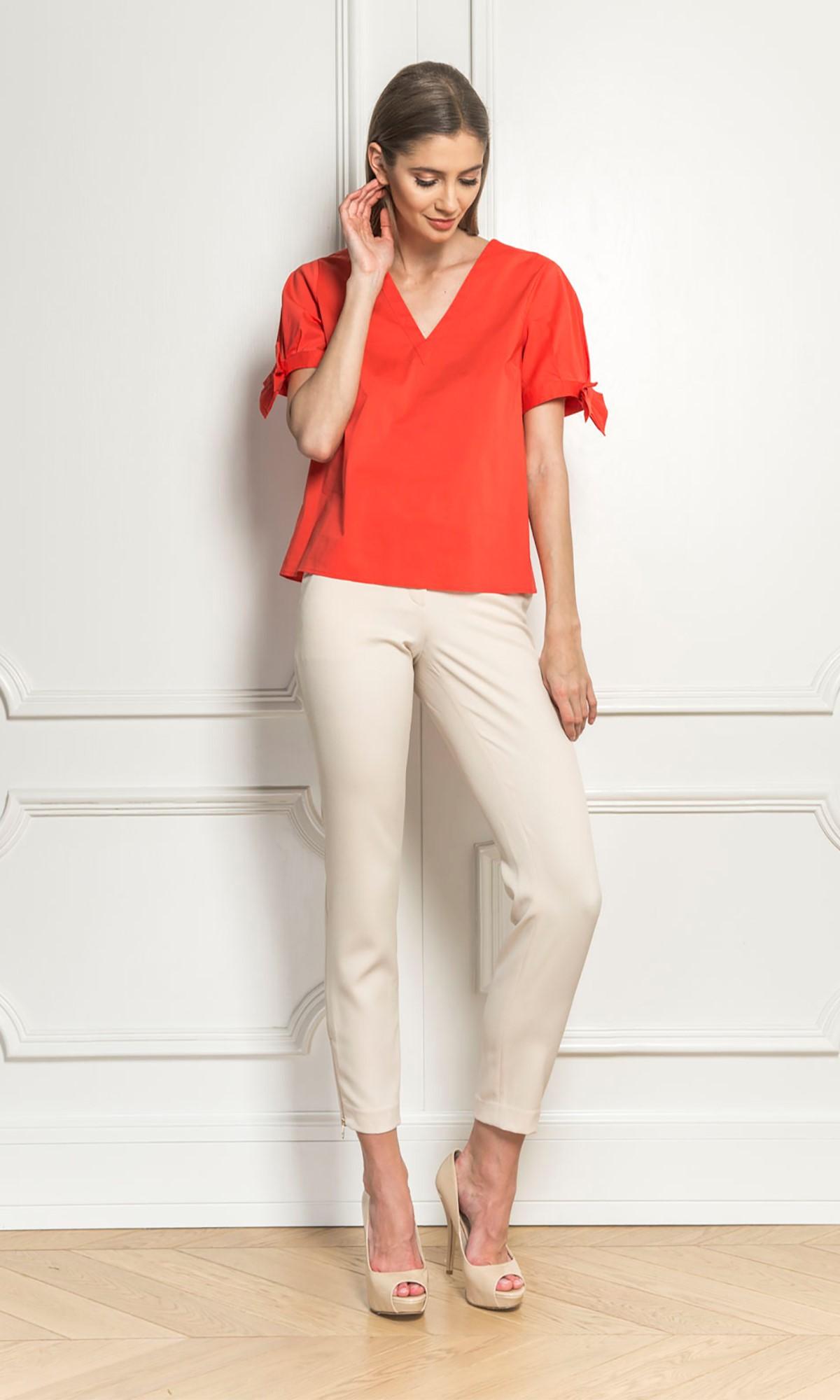 Bluzka koszula z kokardami, w kolorze koralowym